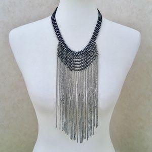 Jewelry - Silver Tone Chain Statement Bib Necklace